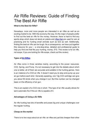 Air Rifle Reviews: Guide of Finding The Best Air Rifle