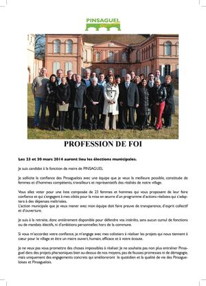 Profession de foi Officielle 2014 - Pinsaguel Autrement
