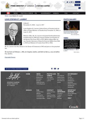 Louis Stephen St. Laurent - Prime Minister of Canada (Liberal) November 15, 1948 - June 21, 1957