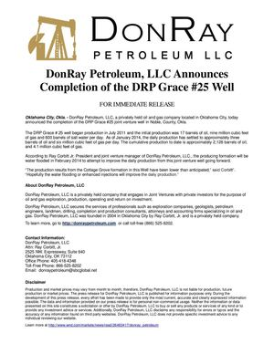 DonRay Petroleum Completed DRP Grace #25 Well in Noble County, Okla