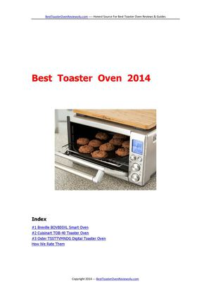 Best Toaster Oven 2014