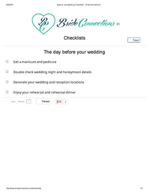 Wedding Checklists: The Day Before