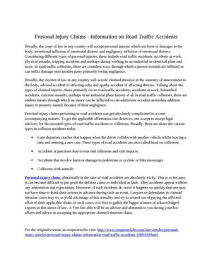 Personal Injury Claims - Information on Road Traffic Accidents