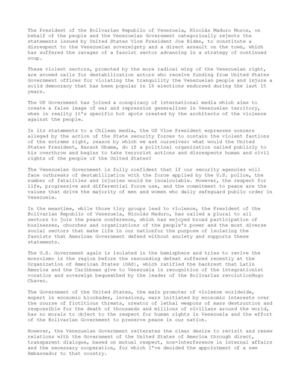 STATEMENT OF THE VENEZUELAN GOVERNMENT 09 March, 2014