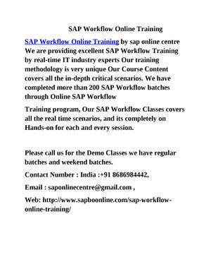 SAP Workflow Online Training