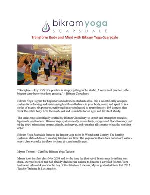 Transform Body and Mind with Bikram Yoga-Scarsdale