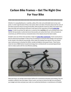 Carbon Bike Frames – Get The Right One For Your Bike