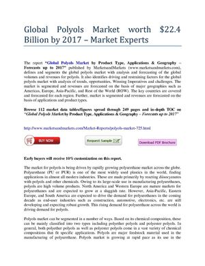 Global Polyols Market worth $22.4 Billion by 2017 – Market Experts