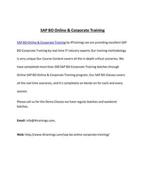 SAP BO Corporate Training by 10 years Experience Faculty