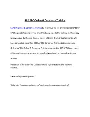 SAP BPC Corporate Training by 10 years Experience Faculty