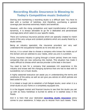 Recording Studio Insurance is Blessing to Today's Competitive music Industry!