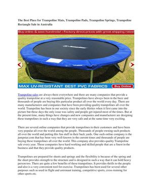 The Best Place for Trampoline Mats, Trampoline Pads, Trampoline Springs, Trampoline Rectangle Sale in Australia