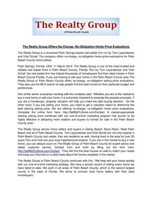 The Realty Group Offers No-Charge, No-Obligation Home Price Evaluations