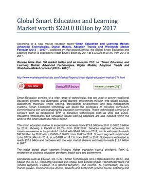 Global Smart Education and Learning Market worth $220.0 Billion by 2017