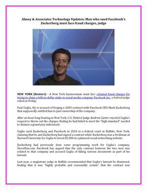 Abney & Associates Technology Updates: Man who sued Facebook's Zuckerberg must face fraud charges, judge