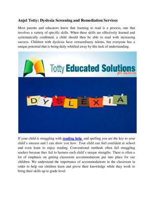 Anjel Totty: Dyslexia Screening and Remediation Services