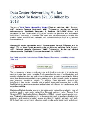 Data Center Networking Market Worth $21.85 Billion by 2018q