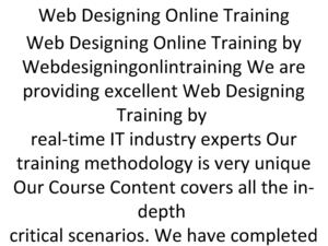 Web Designing Online Training in UK USA