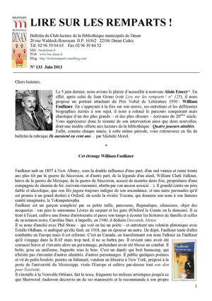 N°133 juin 2013 (William Faulkner)