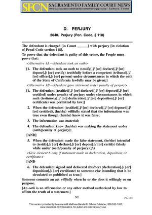 Calamo Calcrim 2640 Perjury Penal Code 118 Judicial Council Of