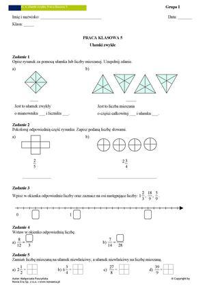 sprawdzian z ułamków klasa 6 pdf