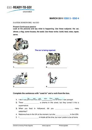 Easter homework 4th ESO courtesy of OUP