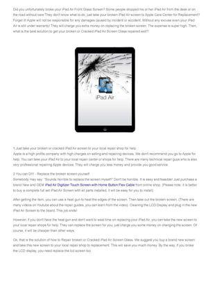 Calaméo - How to Repair broken or Cracked iPad Air Screen Glass