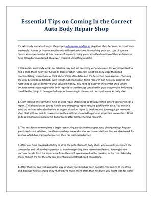 Calameo Auto Repair Shop Mesa Az