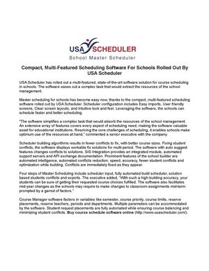 Compact, Multi-Featured Scheduling Software For Schools Rolled Out By USA Scheduler