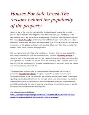 Houses For Sale Greek-The reasons behind the popularity of the property
