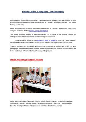 Nursing College in Bangalore | Indianacademy