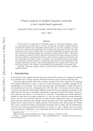 Chessa_Cluster analysis of weighted bipartite networks: a new copula-based approach