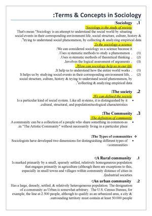 Calamo Sociology Terminology