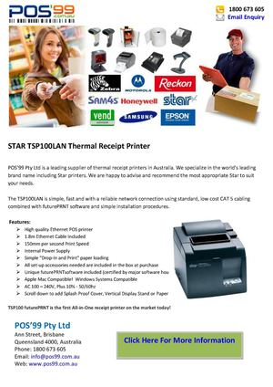 STAR TSP100LAN Thermal Receipt Printer