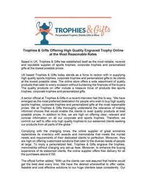 Trophies & Gifts Offering High Quality Engraved Trophy Online at the Most Reasonable Rates