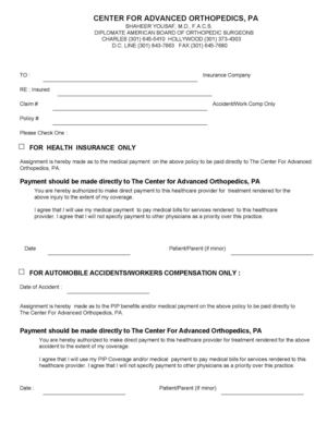 Center For Advanced Orthopedics Assignment of Benefits FORM