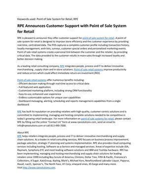 RPE Announces Customer Support with Point of Sale System for Retail