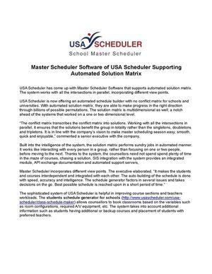 Calaméo - Master Scheduler Software of USA Scheduler