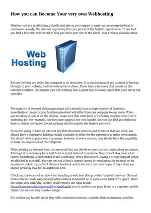 How you can Become Your very own Webhosting