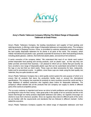 Calaméo - Anny's Plastic Tableware Company Offering The