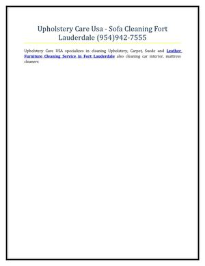 Upholstery Care Usa   Sofa Cleaning Fort Lauderdale (954)942 7555