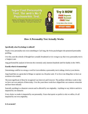 How A Personality Test Actually Works
