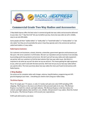 Commercial Grade Two Way Radios and Accessories