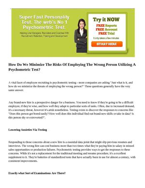 How Do We Minimize The Risks Of Employing The Wrong Person Utilizing A Psychometric Test