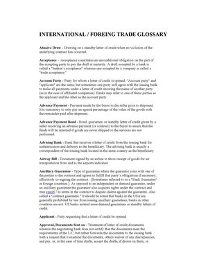 INTERNATIONAL TRADE GLOSSARY