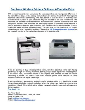 Purchase Wireless Printers Online at Affordable Price
