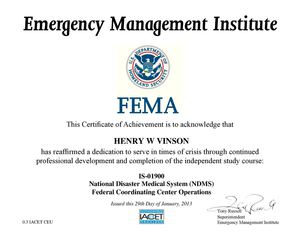 FAMA Cert NatlDisasMed IS-01900
