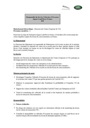 Responsable Service Véhicules d'Occasion