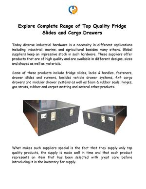 Explore Complete Range of Top Quality Fridge Slides and Cargo Drawers