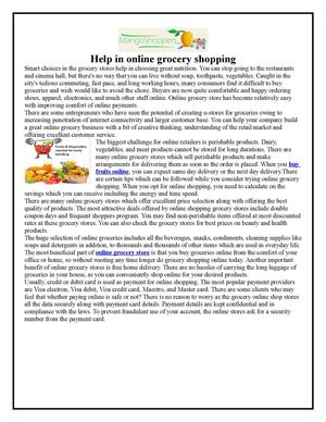 Help in online grocery shopping